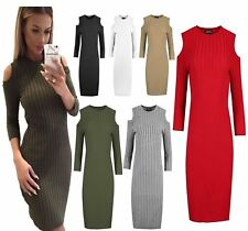 Womens Cold Cut Out Shoulder Plain Knitted Ribbed Bodycon Ladies Mini Dress Top