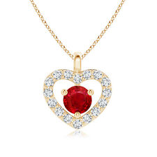 """Solitaire Ruby Love Heart Pendant Necklace with Diamond 14k Solid Gold 18"""" Chain"""