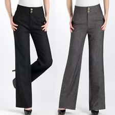 Elegant Women Hi-Rise Wide Leg Palazzo Slacks Long Dress Wool Pants Trouser plus