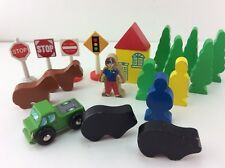 Trees People Building Signs Lot of 20 for Wood Train Track Fits Brio + Tomas