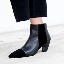 Women Pointed Toe Kitten Heels Ankle Boots Genuine Leather Chelsea Booties Shoes