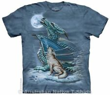 Dragon Wolf Moon T-Shirt in Adult Sizes - Fantasy Wolves by The Mountain Tees