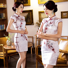 Elegant Chinese Style QiPao Ladie's Silk Evening Mini Dress Cheongsam Dresses...