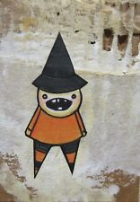 ACEO Halloween Witch Original Collage Mixed Media Drawing  Recycled Art