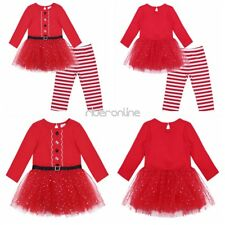 Infant Baby Girls Christmas Party Santa Claus Dress Pants Outfit Set Clothes New