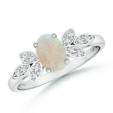 Vintage Style Oval Solitaire Opal Diamond Ring 14k White Gold Size 3-13