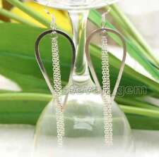 SALE Fashion White 22*50mm metal Drop and long 2.5'' chain Dangle Earring-ear626