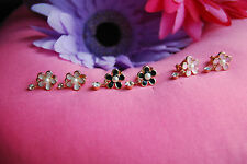 Flower Clip-on Earrings with Synthetic Pearl Stamens and Dangling Clear Crystals