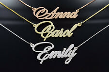 Customized Script Name Necklace on Sterling Silver .925 Plated Rose Yellow Gold
