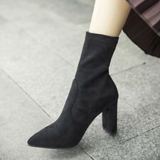 New Women Sexy Ankle Boots Pointed Toe Elastic Stretch Suede High Heels Shoes