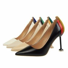 Simple Artificial PU Stiletto High Heel Pointed Toe Muilt-color Women Pump Shoes
