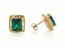 10k or 14k Yellow Gold Simulated Emerald Elegant Design May Birthstone Earrings