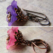 Flower Earrings Lucite Art Deco Antique Copper Niobium Violets or Mountain Pinks