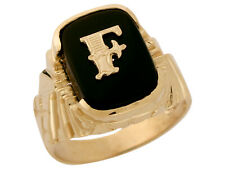 10k or 14k Solid Gold Nugget Design Onyx Letter F Mens Initial Statement Ring