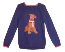 NEW JOULES Girls Navy Blue Pink Chrissie Dog Glasses Scarf Sweater 3 4 5 6 yr