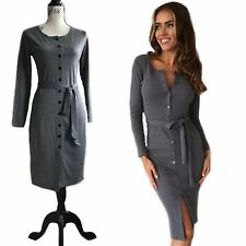 Womens Long Sleeve Front Button Up Dress With Waist Strap Black & Grey