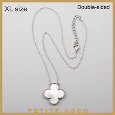 """Handmade 1"""" mother of pearl four leaf clover silver necklace"""