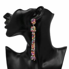 Women 9 Color Fashion Beads Crystal Material Dangle Drops Earrings