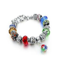 NEW! Silver Charm Bracelet, with Colorful Glass Beads FREE SHIPPING from U.S!
