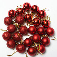 """24 Pack RED Christmas Tree Ball Ornament Set Assorted Round 2.5"""" Shatterproof"""