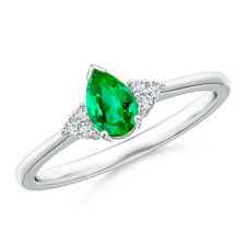 Pear Emerald Solitaire Ring With Trio Diamond Accents 14k White Gold