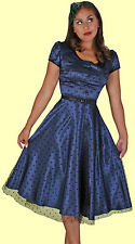 Stop Staring! - True Blue Satin Swing Dress.  New With Several Sizes.