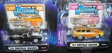 MUSCLE MACHINES LOT OF 2 1:64 '65 CHEVY CHEVELLE WAGON BLACK & BRONZE W/ FLAMES