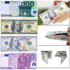 Chic Unisex Mens Womens Currency Notes Pattern Pound Dollar Euro Purse Wallet PC