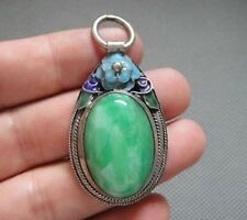 Rare Antique Chinese Silver  Enamel Mosaic jade Pendant