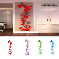 3D Acrylic Romantic Rose Flowers Wall Stickers Art Vinyl Mural Decal Living Room