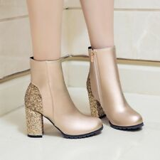 New Womens Sequin Ankle Boots Round Toe Side Zipper High Block Heels Shoes Size