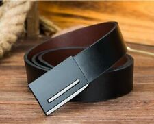 Men Simple Style Metal Martial Black And Silver Color Buckle Leather Belt