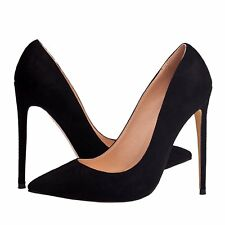 Plus Size Womens Pumps Suede Slip On Pointed Toe High Heels 12cm Stiletto Shoes