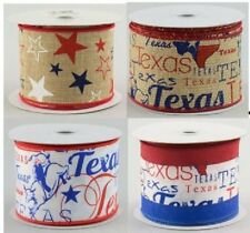 """Patriotic Texas Ribbon, Stars Stripes, Wired Edge, 10 Yards, 2.5"""" Wide, Crafts"""