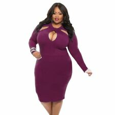 New*Hot & Sexy Womens Plus Size Hollow Out Bodycon Dress*XL or 2XL* Purple*