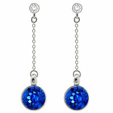 Round bella Sapphire Chain Linear Earrings Made with SWAROVSKI® Crystals