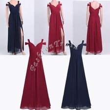 Women Split Maxi Chiffon Prom Gown Party Evening Cocktail Bridesmaid Long Dress