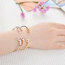 Classic Thin Opening Bangle with Love Key Lock Ends Asymmetrical Bracelet