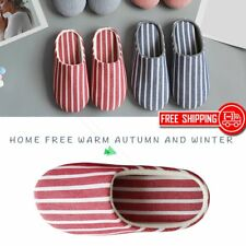 Striped Soft Bottom Home Cotton Slippers Women Indoor Anti-slip Warm Shoes I5
