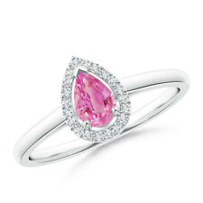 Diamond Halo Pear Shaped Pink Sapphire Cocktail Ring 14k White Gold