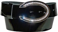 "FRONHOFER patent leather belt for women, 1.5""/4cm, oval rhinestone buckle"