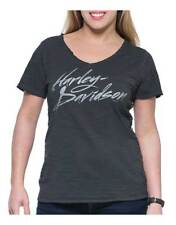 Harley-Davidson Women's Street High-Low Hem Short Sleeve V-Neck Tee, Gray