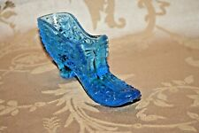 "Vintage 6"" Aquamarine Blue Daisy Button & Bow Pattern Glass Slipper Shoe Planter"