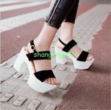Summer Fashion Womens Open Toe Chunky High Heels Sandals Pumps Platform Shoes