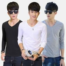 Fashion Men's Long Sleeve T-Shirt Slim Fit V-Neck Casual Tee Bottoming Top Beamy