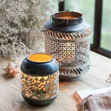 Rustic Hollow Wrought Iron Lantern Candle Holder Decorative Lamp - 9 Style