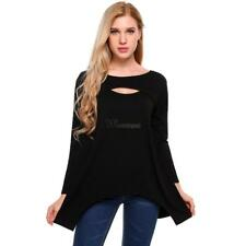 Women Casual Long Sleeve Split O Neck Solid Loose Stretchy Jagged WT88