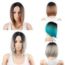 """13"""" Short Straight Wig Dark Roots Ombre Bob Hair Synthetic Full Wigs For Women"""