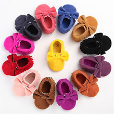 Toddler Baby Moccasin Tassel Soft Sole Bow Leather Infant Boy Girl Shoes 0-18M