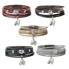 Multilayer Braided Leather Bracelet Bracelet with Leaf And Pearl Beads Charm